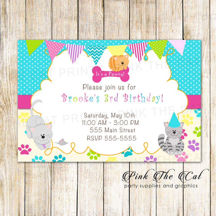 30 Kitten Invitations Girl Birthday Party Yellow Pink