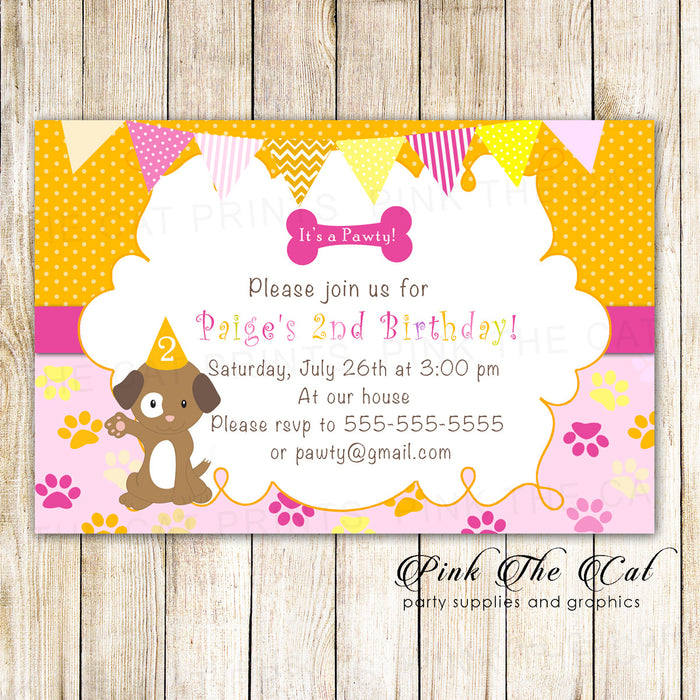 30 Puppy Pawty Girl Birthday Invitation Cards Orange Pink