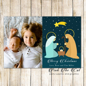 30 Holiday christmas greeting cards nativity with photo