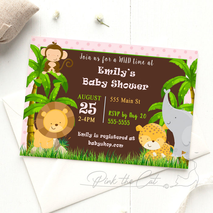 Jungle invitation baby shower pink brown
