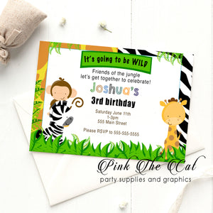 Jungle safari invitations birthday baby shower printable