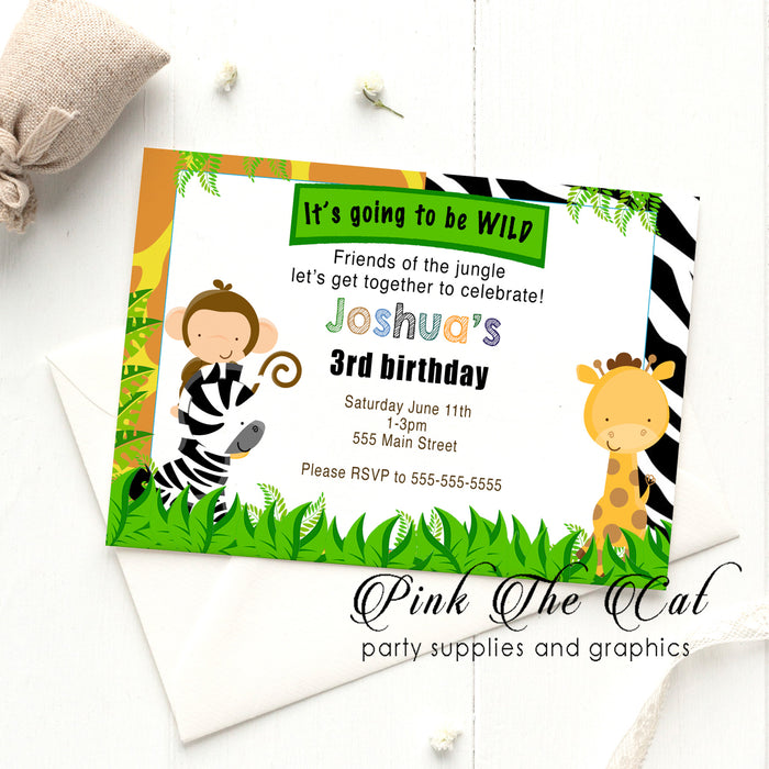Jungle invitations birthday baby shower (set of 30)