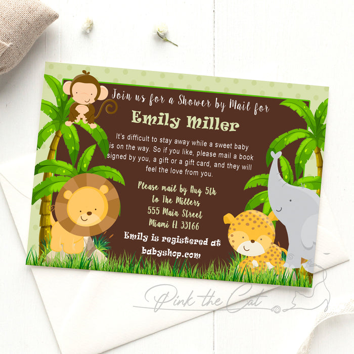 Jungle invitation shower by mail