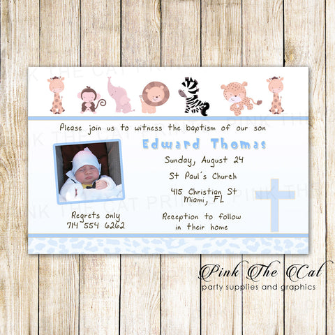 30 Invitations Animals Boy Baptism Christening With Photo