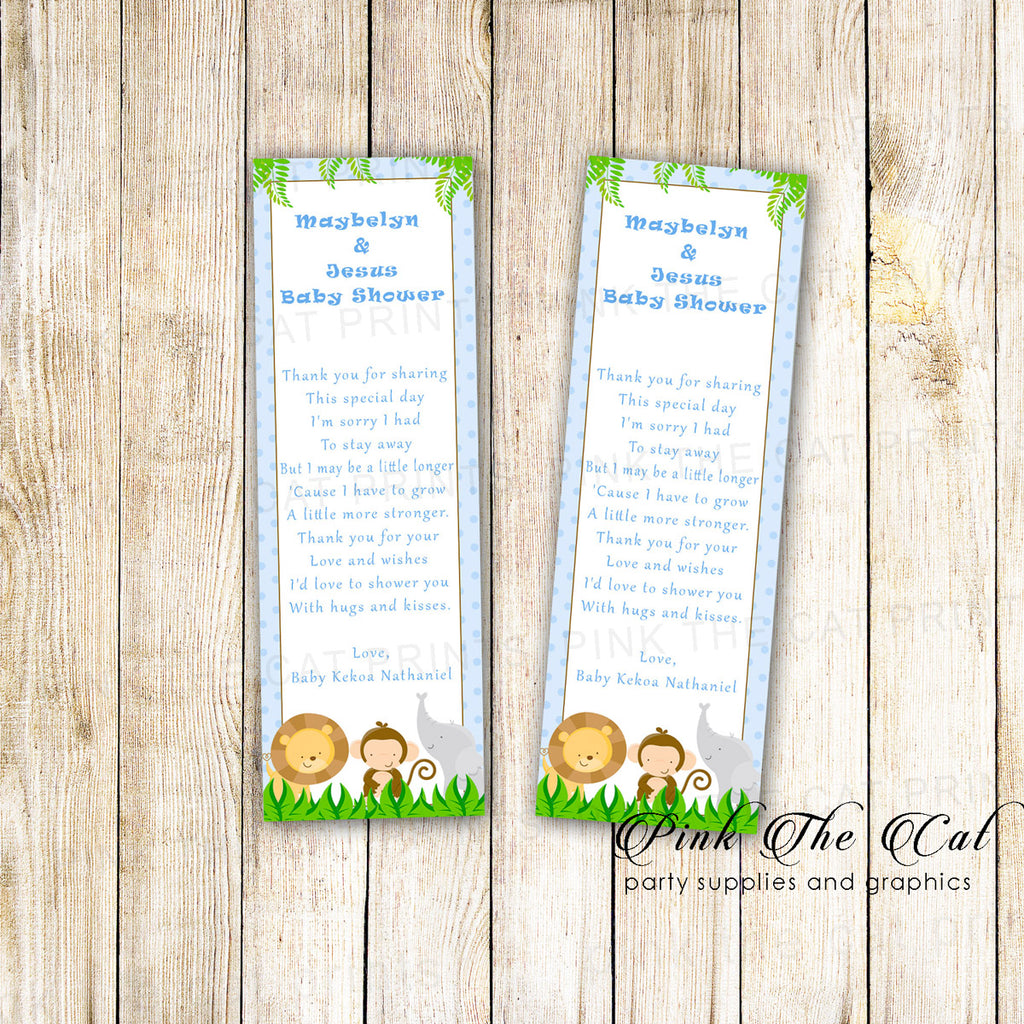 50 Bookmarks Blue Boy Jungle Baby Shower Favors
