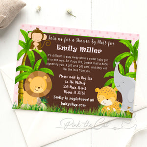 Jungle invitation shower by mail pink