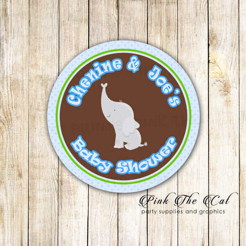 40 stickers blue brown elephant birthday baby shower labels