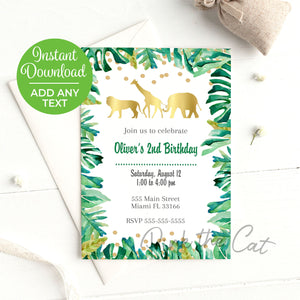 Jungle Invitation Birthday Baby Shower Printable