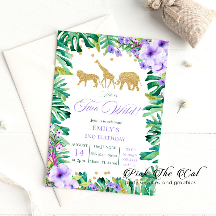 Jungle two wild birthday invitation purple (30 cards)