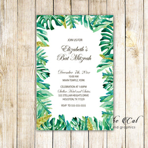100 Botanical invitations bat mitzvah tropical leaves