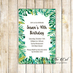 30 invitations botanical tropical leaves birthday personalized