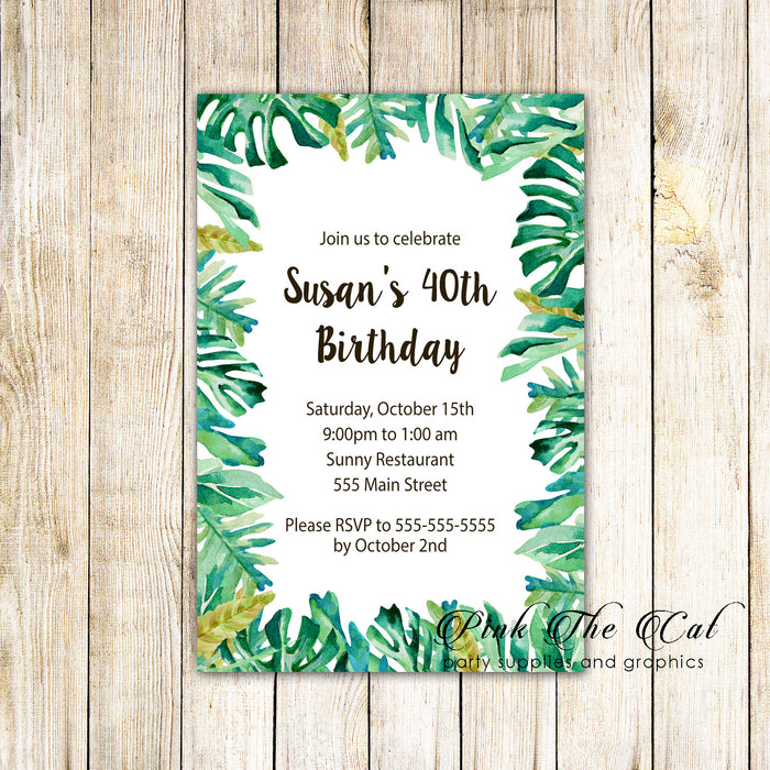 30 invitations botanical tropical birthday