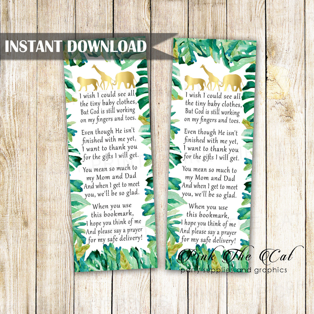 Safari Jungle Bookmark Green Gold Printable Instant Download