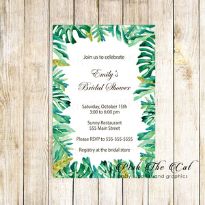 Botanical Bridal Shower Invitation Tropical Leaves Printable