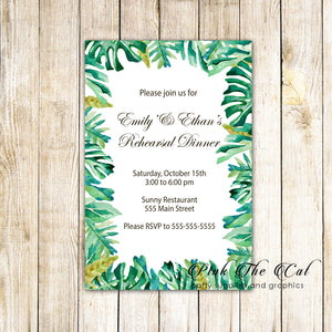 30 invitations botanical tropical leaves rehearsal lunch dinner