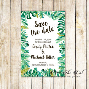 30 botanical tropical leaves save the date cards personalized wedding