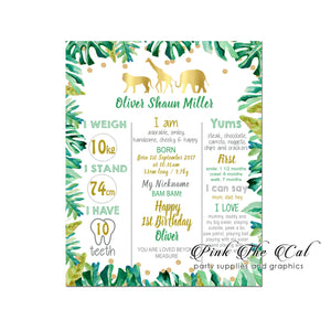 Jungle first birthday memory board green gold printable