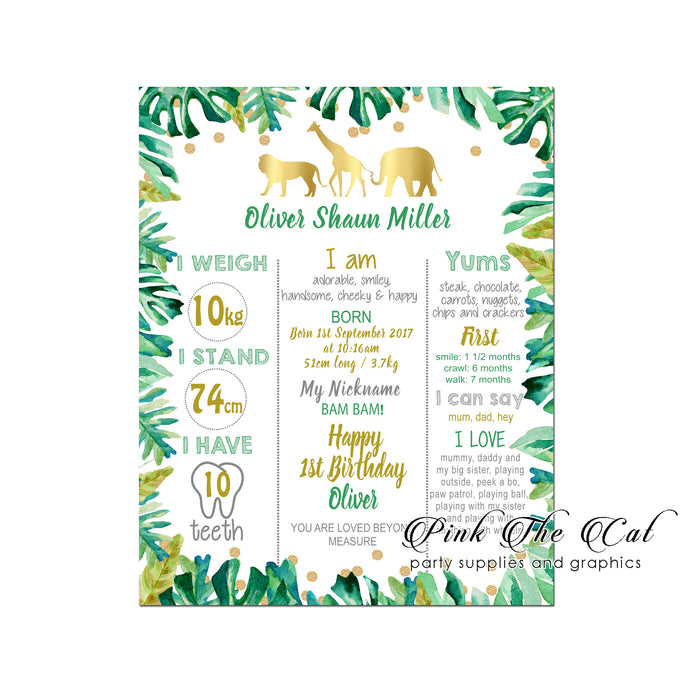 Jungle first birthday memory board printable