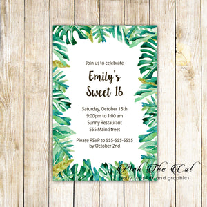 100 Botanical invitations sweet 16 quinceañera
