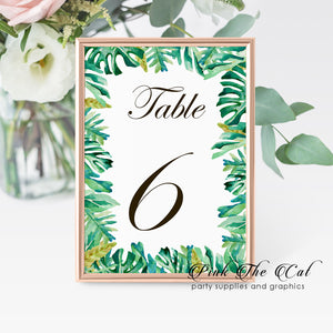 12 Table number cards botanical tropical