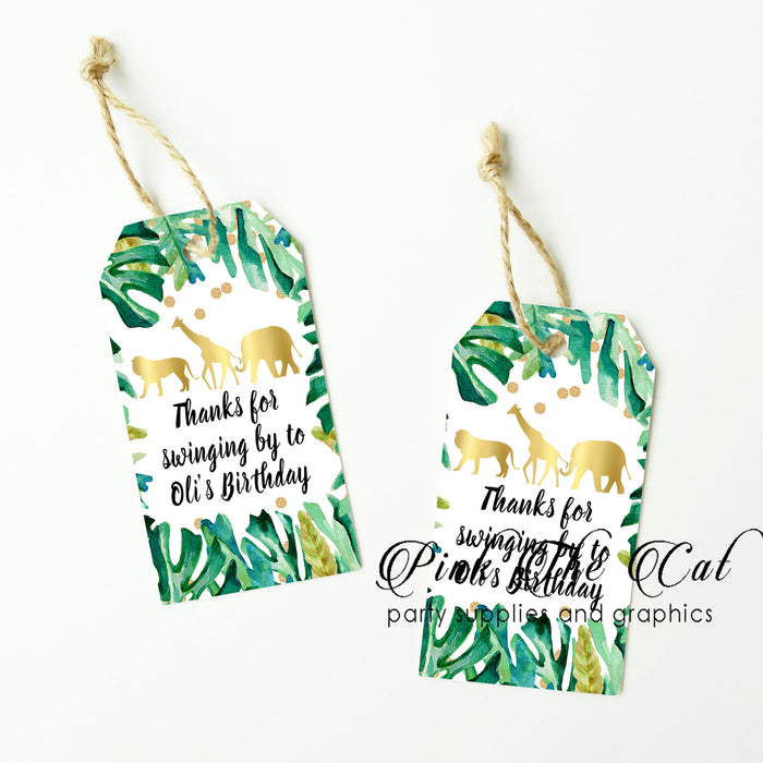 Jungle green gold thank you tags (set of 48)