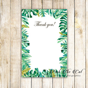 30 blank thank you cards botanical tropical leaves