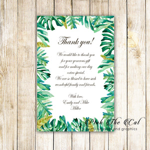 100 thank you cards botanical wedding