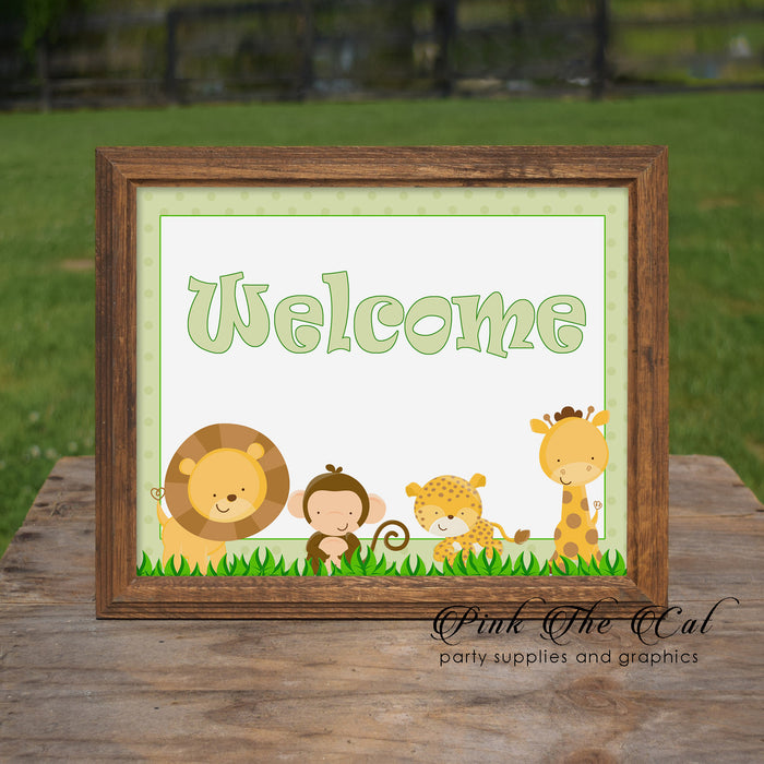Jungle Welcome Sign Birthday Baby Shower Green Printable