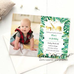 Jungle invitations with photo boy birthday party (set of 30)