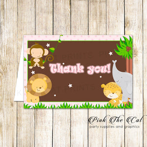 30 Thank You Cards Pink Jungle Girl Birthday Baby Shower