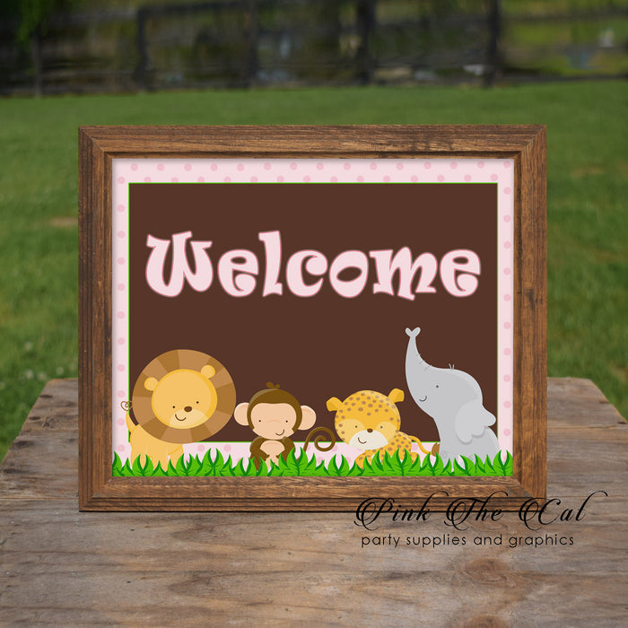 Jungle Welcome Sign Birthday Baby Shower Pink Printable