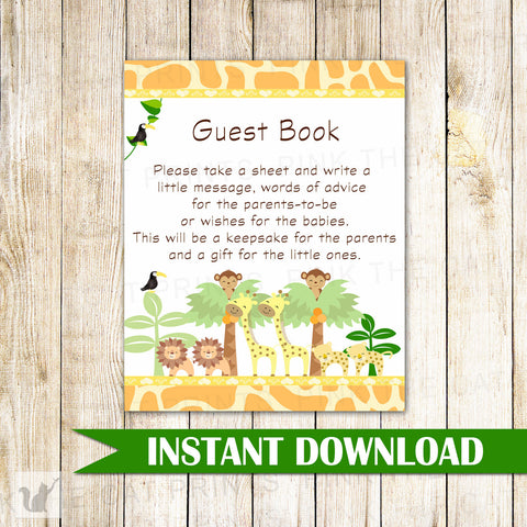 Baby Shower Guestbook Sign Blue Jungle
