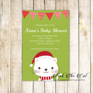 30 Holiday baby shower invitations kitten green red