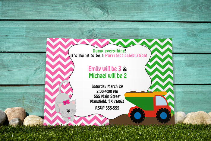 30 invitations kitten dumptruck kids birthday twins siblings