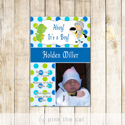 25 Photo Cards Baby Boy Birth Announcement Knight Dragon