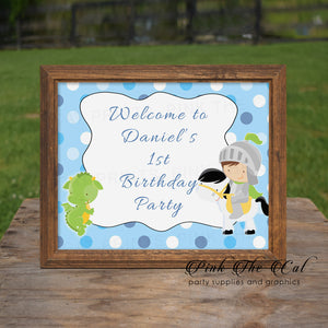 Knight Dragon Welcome Sign Birthday Baby Shower Printable