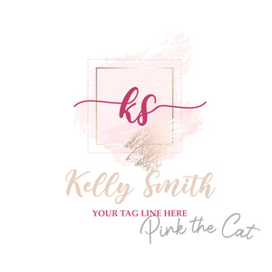 Premade logo signature pink watercolor