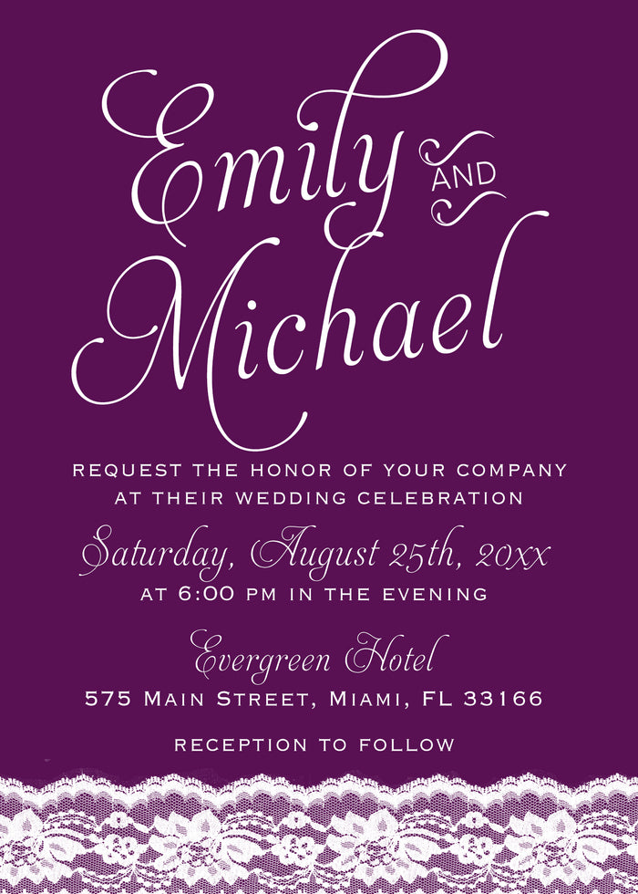 100 wedding invitations plum purple lace cards