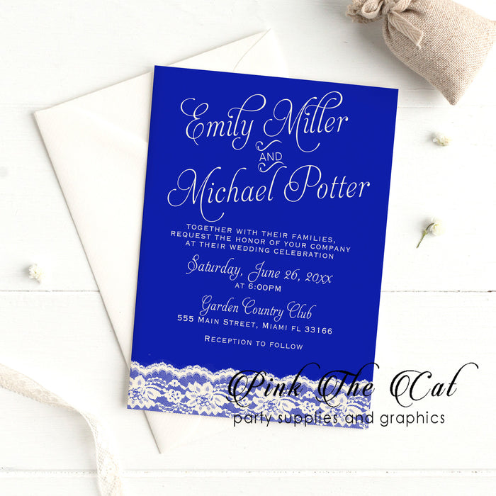 Royal blue lace wedding invitations (set of 100)