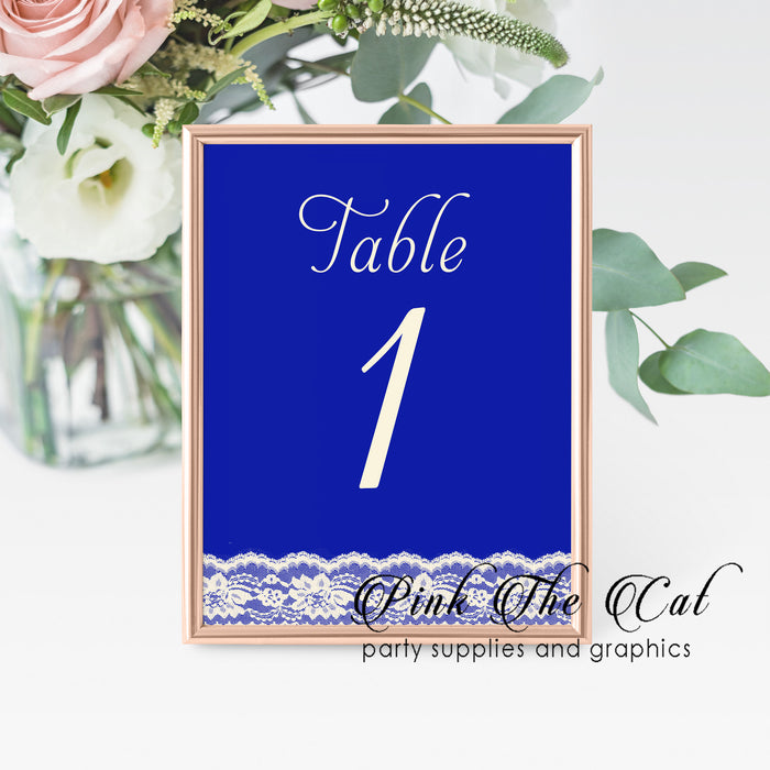 12 Table number cards royal blue lace
