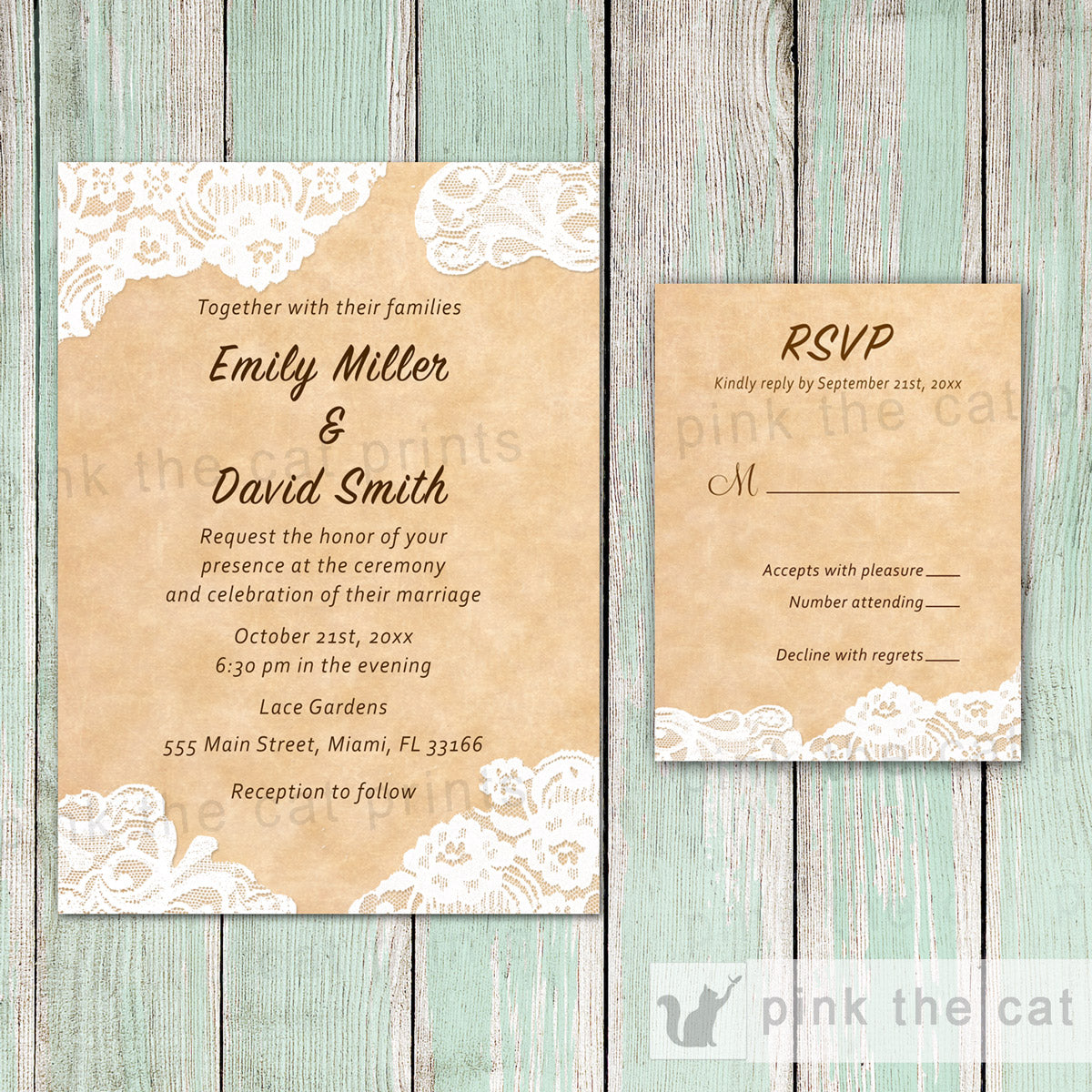 Lace Rustic Wedding Invitation & RSVP Card 2