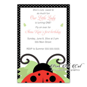 30 Ladybug invitations red black girl birthday baby shower
