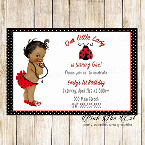 30 Ladybug Invitations Baby Shower Birthday African American