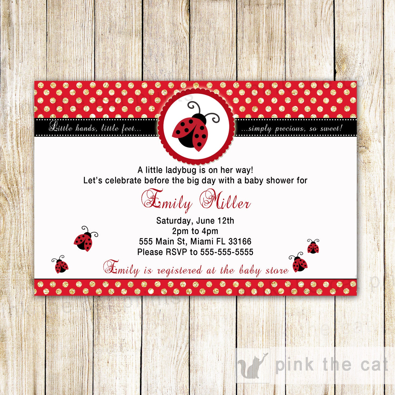 Ladybug Invitation Girl Baby Shower Party Gold Glitter Red Printable