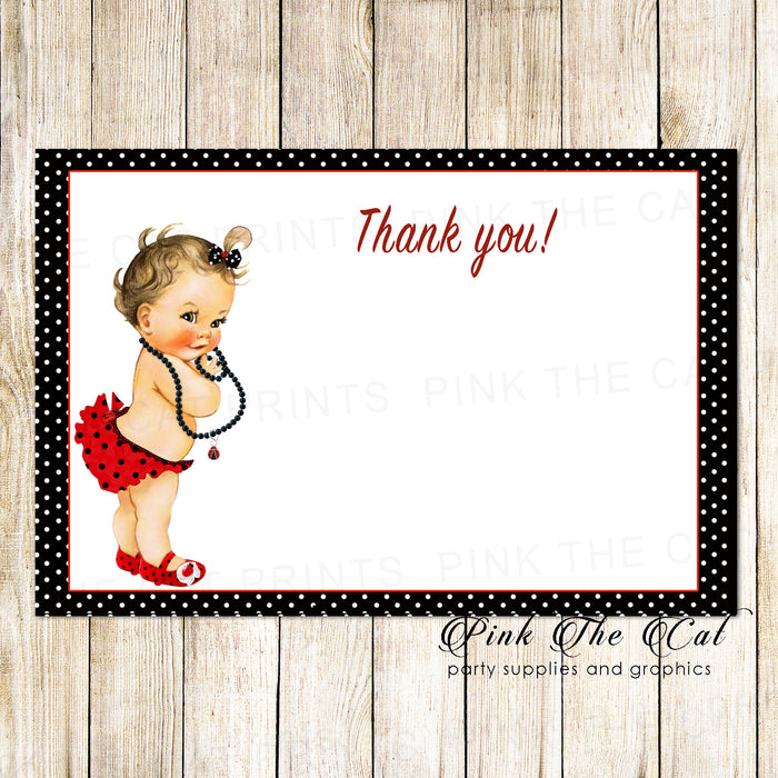 30 thank you cards blank vintage baby ladybug + envelopes