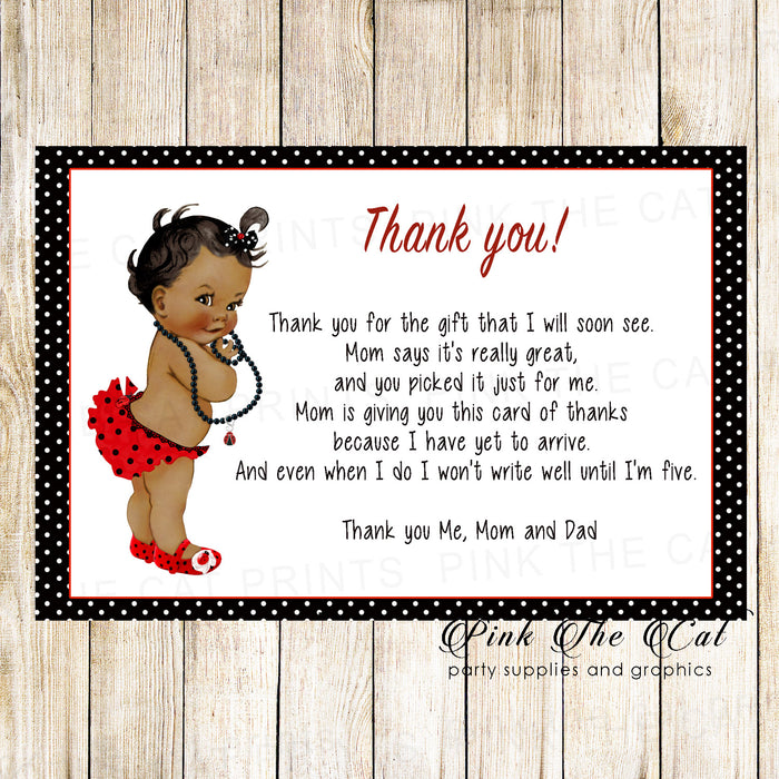 30 thank you cards baby vintage ladybug african american
