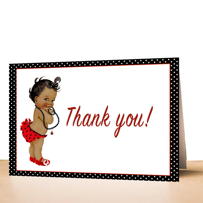 30 thank you cards vintage baby ladybug african american