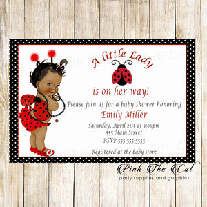 30 Ladybug Invitations Vintage Girl Baby Shower African American