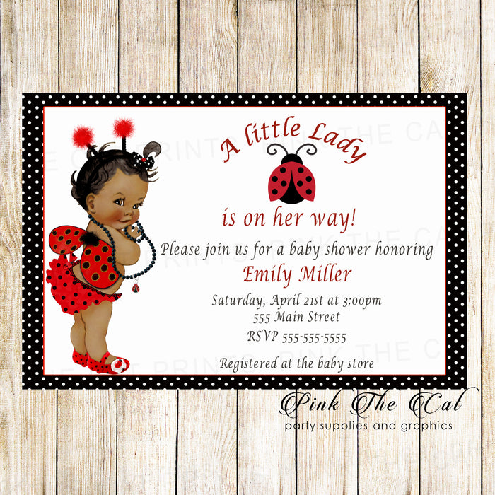 30 Ladybug Invitations Vintage Baby Shower African American