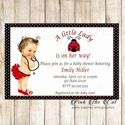 30 thank you cards vintage baby ladybug